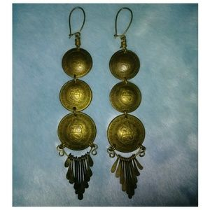 Vintage Domed Peruvian Coin Earrings